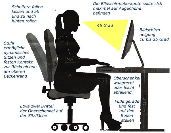 Darauf sollten Sie beim Sitzarbeitsplatz achten